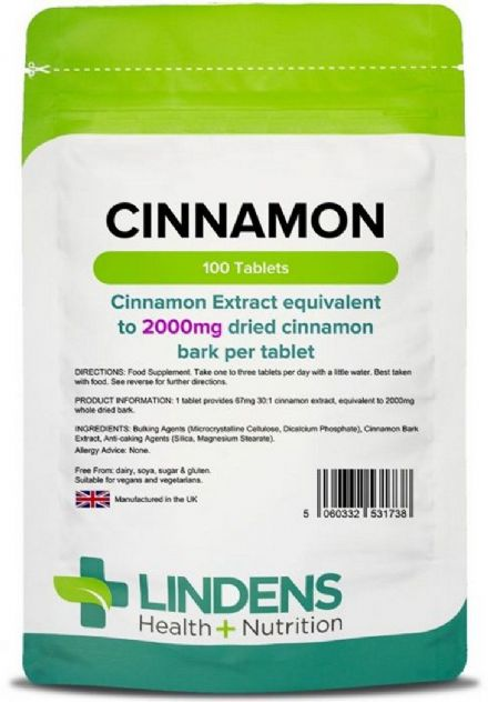 Cinnamon 2000mg eq. x 100 Tablets; Lindens